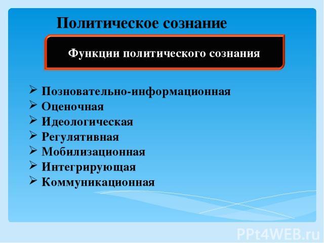 Политическое сознание Позновательно-информационная Оценочная Идеологическая Регулятивная Мобилизационная Интегрирующая Коммуникационная