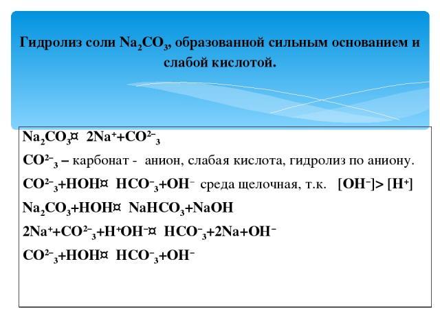 Гидролиз соли Na2CO3, образованной сильным основанием и слабой кислотой. Na2CO3↔2Na++CO2−3 CO2−3 – карбонат - анион, слабая кислота, гидролиз по аниону. CO2−3+HOH↔HCO−3+OH− среда щелочная, т.к. [OH−]> [H+] Na2CO3+HOH↔NaHCO3+NaOH 2Na++CO2−3+H+OH−↔HCO…