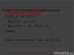 Схема электролиза сульфата меди CuSO4 ↔ Cu2+ +SO42− K(-): Cu2+ + 2e = Cu0 A(+):