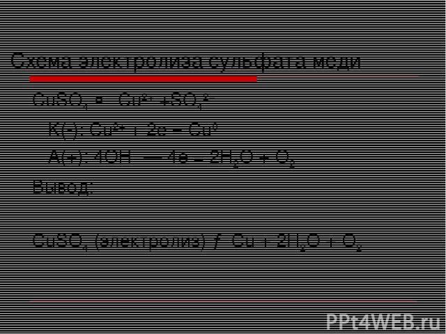 Схема электролиза сульфата меди CuSO4 ↔ Cu2+ +SO42− K(-): Cu2+ + 2e = Cu0 A(+): 4OH−— 4e = 2H2O + O2 Вывод: CuSO4 (электролиз) → Cu + 2H2O + O2