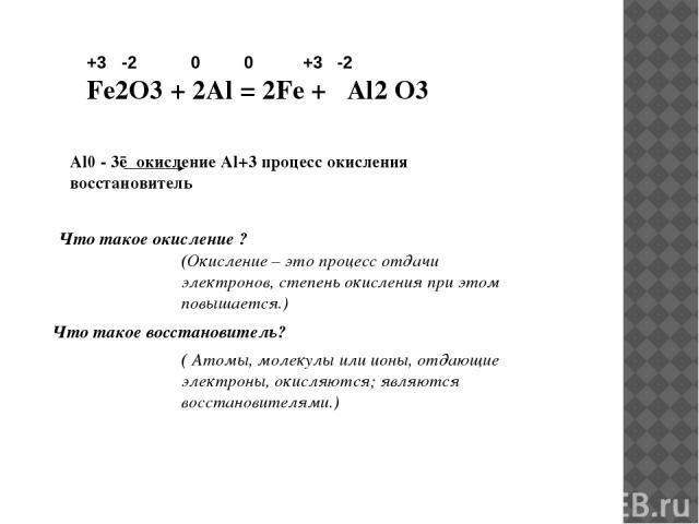 +3 -2 0 0 +3 -2 Fe2O3 + 2Al = 2Fe + Al2 O3 Al0 - 3ē окисление Al+3 процесс окисления восстановитель Что такое окисление ? (Окисление – это процесс отдачи электронов, степень окисления при этом повышается.) Что такое восстановитель? ( Атомы, молекулы…