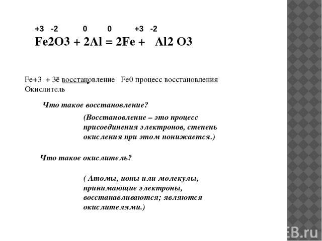 +3 -2 0 0 +3 -2 Fe2O3 + 2Al = 2Fe + Al2 O3 Fe+3 + 3ē восстановление Fe0 процесс восстановления Окислитель Что такое восстановление? (Восстановление – это процесс присоединения электронов, степень окисления при этом понижается.) Что такое окислитель?…