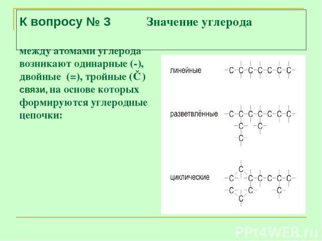 К вопросу № 3 Значение углерода между атомами углерода возникают одинарные (-), двойные (=), тройные (≡) связи, на основе которых формируются углеродные цепочки: