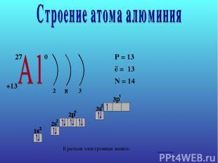 27 +13 0 2 8 3 P = 13 e = 13 N = 14 − Краткая электронная запись: