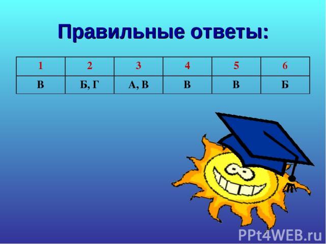 Правильные ответы: 1 2 3 4 5 6 В Б, Г А, В В В Б