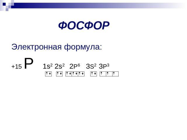 ФОСФОР Электронная формула: +15 Р 1s2 2s2 2P6 3S2 3P3