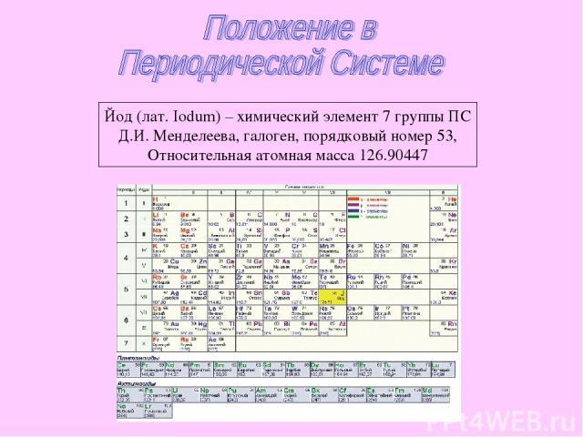 Йод (лат. Iodum) – химический элемент 7 группы ПС Д.И. Менделеева, галоген, порядковый номер 53, Относительная атомная масса 126.90447