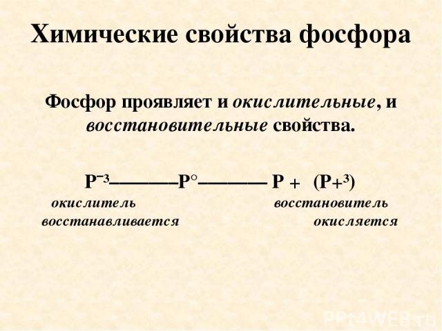 Химические свойства фосфора Фосфор проявляет и окислительные, и восстановительные свойства. Pˉ³–––––––P°––––––– P +⁵ (P+³) окислитель восстановитель восстанавливается окисляется