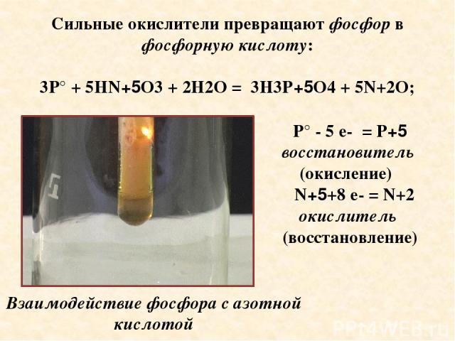 Сильные окислители превращают фосфор в фосфорную кислоту: 3P° + 5HN+5O3 + 2H2O = 3H3P+5O4 + 5N+2O; P° - 5 е- = P+5 восстановитель (окисление) N+5+8 е- = N+2 окислитель (восстановление) Взаимодействие фосфора с азотной кислотой