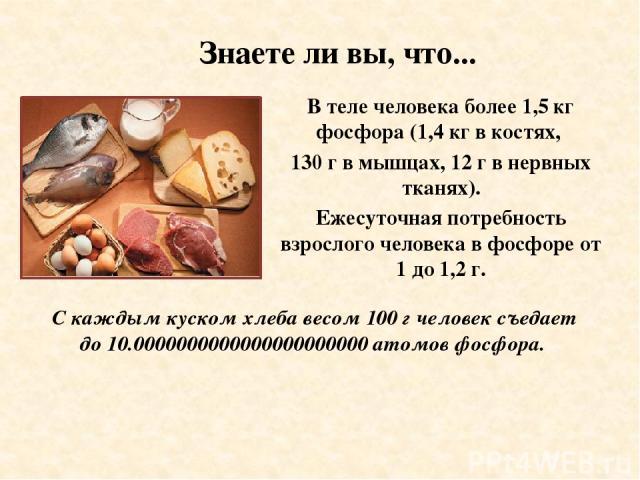 Знаете ли вы, что... В теле человека более 1,5 кг фосфора (1,4 кг в костях, 130 г в мышцах, 12 г в нервных тканях). Ежесуточная потребность взрослого человека в фосфоре от 1 до 1,2 г. С каждым куском хлеба весом 100 г человек съедает до 10.000000000…