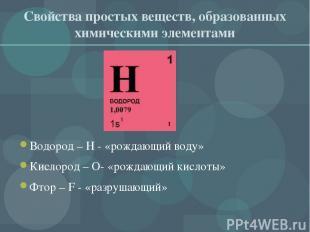 Свойства простых веществ, образованных химическими элементами Водород – H - «рож