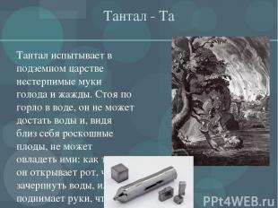 Тантал - Та Тантал испытывает в подземном царстве нестерпимые муки голода и жажд
