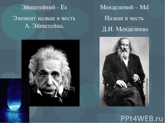 Эйнштейний - Es Элемент назван в честь А. Эйнштейна. Менделевий – Md Назван в честь Д.И. Менделеева