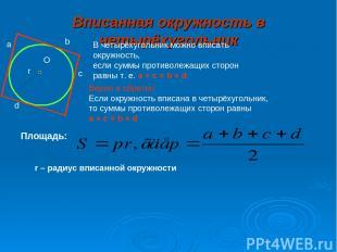 Вписанная окружность в четырёхугольник а b c d O r В четырёхугольник можно вписа