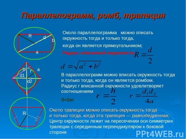Параллелограмм, ромб, трапеция Около параллелограмма можно описать окружность тогда и только тогда, когда он является прямоугольником; Радиус описанной окружности R d a b В параллелограмм можно вписать окружность тогда и только тогда, когда он являе…