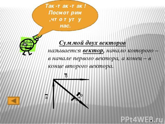 Первый Способ. Правило треугольника. От точки A отложим вектор AB. От точки B отложим вектор BC. Тогда вектор AC равен сумме векторов AB и BC. А В С АС = АВ + ВС