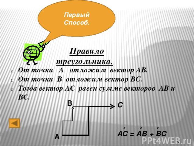 Ты посмотри, что тут есть!! Второй способ!! Правило параллелограмма. От точки А отложим оба вектора. Достроим фигуру до параллелограмма. Тогда вектор, являющийся диагональю параллелограмма и выходящий из этой же точки, и есть вектор суммы двух исход…