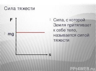 Сила тяжести mg Сила, с которой Земля притягивает к себе тело, называется силой