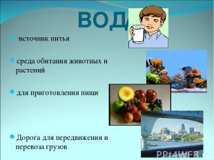 ВОДА- … источник питья среда обитания животных и растений для приготовления пищи
