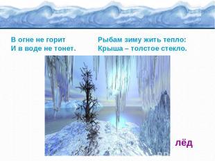 В огне не горит Рыбам зиму жить тепло: И в воде не тонет. Крыша – толстое стекло