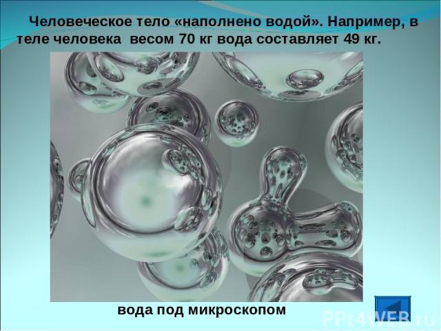 Человеческое тело «наполнено водой». Например, в теле человека весом 70 кг вода составляет 49 кг. вода под микроскопом