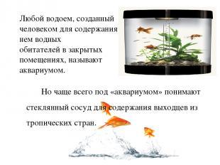 Любой водоем, созданный человеком для содержания в нем водных обитателей в закры