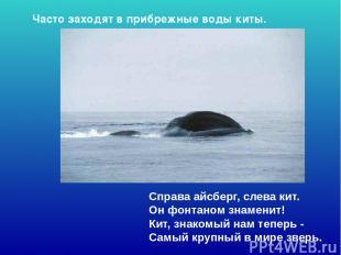 Справа айсберг, слева кит. Он фонтаном знаменит! Кит, знакомый нам теперь - Са
