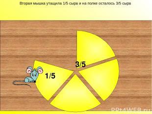 Вторая мышка утащила 1/5 сыра и на полке осталось 3/5 сыра 3/5 Вторая мышка утащ