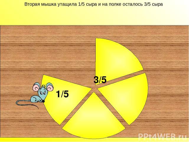 Вторая мышка утащила 1/5 сыра и на полке осталось 3/5 сыра 3/5 Вторая мышка утащила 1/5 сыра и на полке осталось 3/5 сыра. 1/5