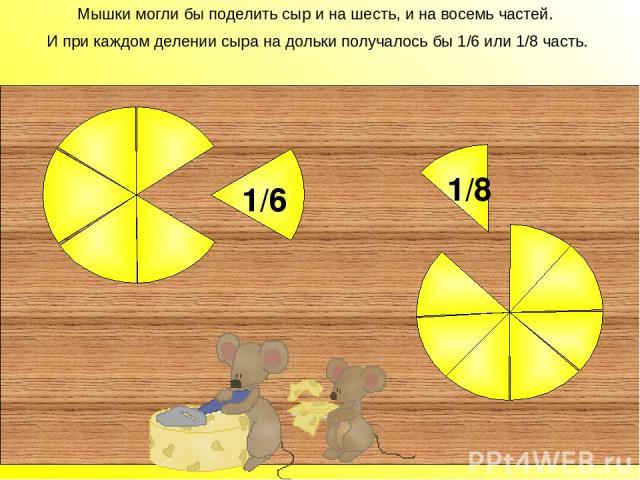 Мышки могли бы поделить сыр и на шесть, и на восемь частей. И при каждом делении сыра на дольки получалось бы 1/6 или 1/8 часть. 1/6 1/8 Мышки могли бы поделить сыр и на шесть, и на восемь частей. И при каждом делении сыра на дольки получалось бы 1/…
