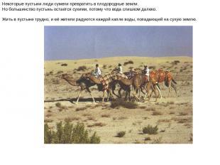 Некоторые пустыни люди сумели превратить в плодородные земли. Но большинство пус