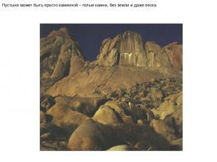 Пустыня может быть просто каменной – голые камни, без земли и даже песка. Пустын