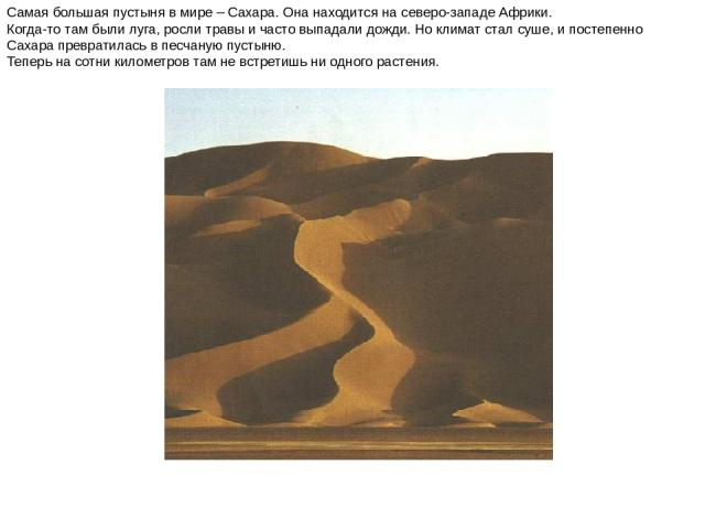 Самая большая пустыня в мире – Сахара. Она находится на северо-западе Африки. Когда-то там были луга, росли травы и часто выпадали дожди. Но климат стал суше, и постепенно Сахара превратилась в песчаную пустыню. Теперь на сотни километров там не вст…