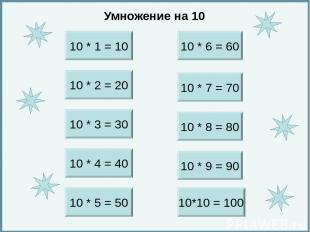 10 * 1 = 10 10 * 1 = 10 10. *. 1. =. 10. 10 * 1 = 10.