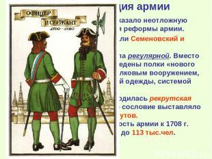 2. Реорганизация армии Поражение под Нарвой показало неотложную необходимость ус