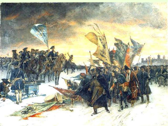 1. Начало Северной войны В августе 1700 г. Россия заключает 30-летний мир с Турцией. 40-тысячная армия отправляется на шведскую крепость Нарва. Начинается Северная война. Пришедший на помощь осажденному гарнизону шведский король Карл XII с 15-тысячн…