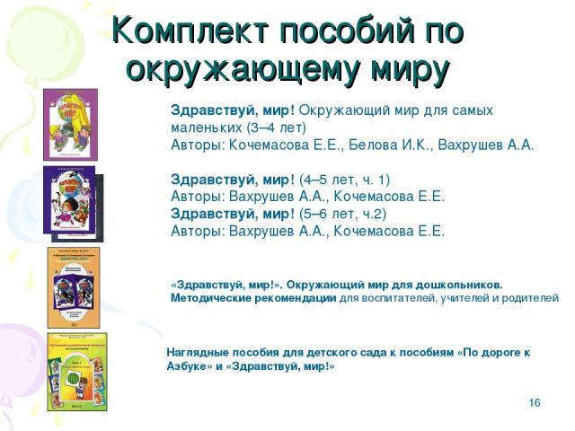 * Комплект пособий по окружающему миру Здравствуй, мир! Окружающий мир для самых маленьких (3–4 лет) Авторы: Кочемасова Е.Е., БеловаИ.К., ВахрушевА.А. Здравствуй, мир! (4–5 лет, ч.1) Авторы: ВахрушевА.А., Кочемасова Е.Е. Здравствуй, мир! (5–6 ле…