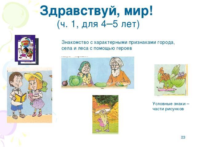 * Здравствуй, мир! (ч.1, для 4–5 лет) Знакомство с характерными признаками города, села и леса с помощью героев Условные знаки – части рисунков