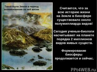 Считается, что за всю историю жизни на Земле в биосфере существовало около полум