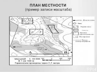 ПЛАН МЕСТНОСТИ (пример записи масштаба)