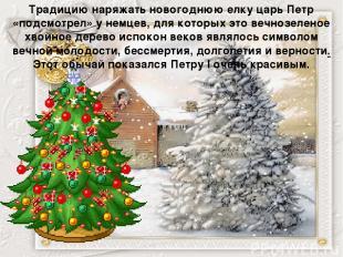 Традицию наряжать новогоднюю елку царь Петр «подсмотрел» у немцев, для которых э