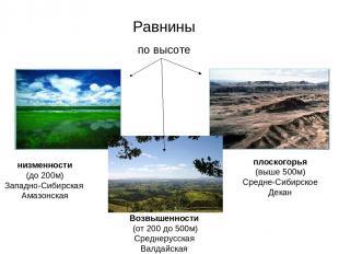 Равнины по высоте низменности (до 200м) Западно-Сибирская Амазонская плоскогорья