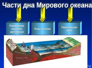 Подводная окраина материков Ложе океана Переходная зона