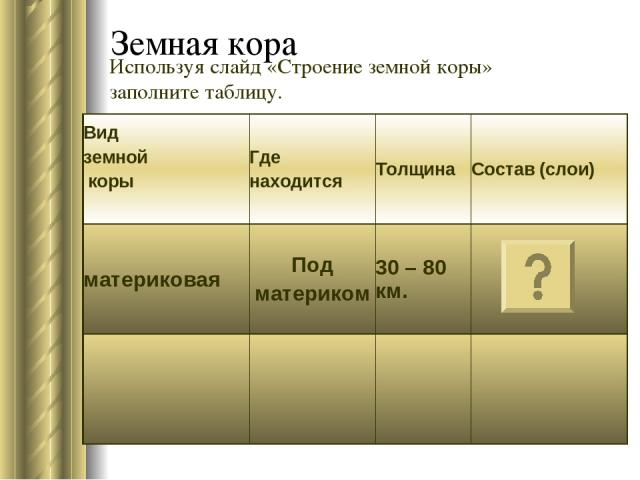 Земная кора Используя слайд «Строение земной коры» заполните таблицу. Вид земной коры Где находится Толщина Состав (слои) материковая Под материком 30 – 80 км.