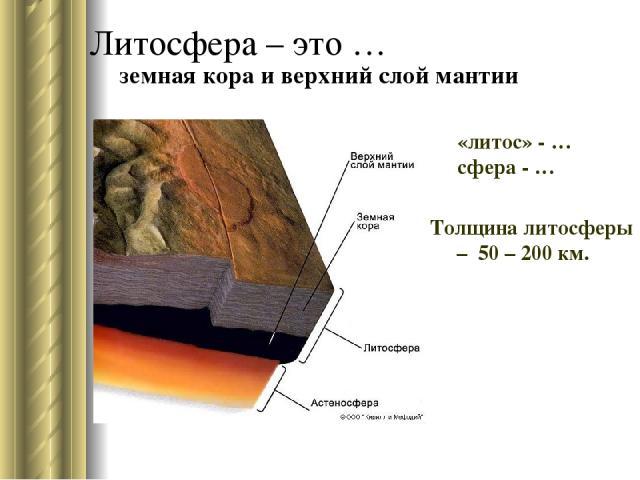 Литосфера – это … Толщина литосферы – 50 – 200 км. «литос» - … сфера - … земная кора и верхний слой мантии