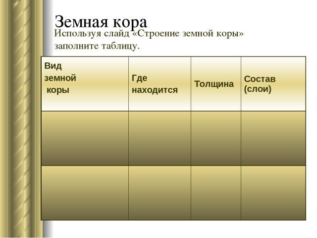 Земная кора Используя слайд «Строение земной коры» заполните таблицу. Вид земной коры Где находится Толщина Состав (слои)