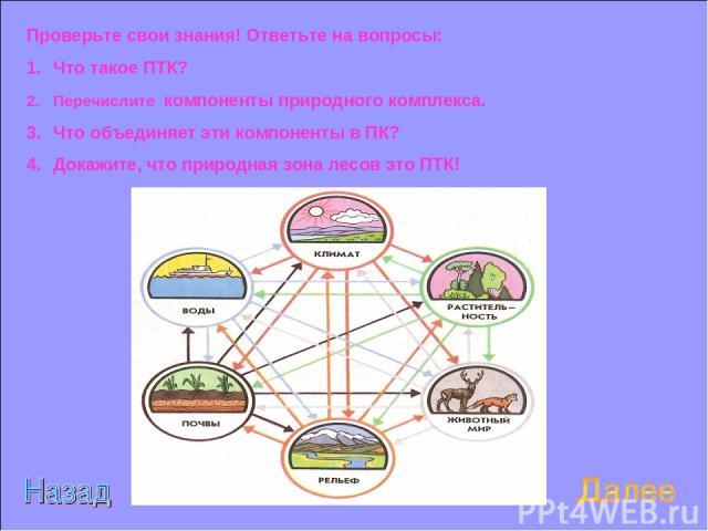 Проверьте свои знания! Ответьте на вопросы: Что такое ПТК? Перечислите компоненты природного комплекса. Что объединяет эти компоненты в ПК? Докажите, что природная зона лесов это ПТК!