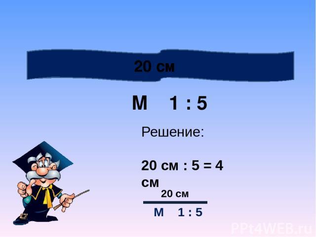 М 1 : 5 20 см Решение: 20 см : 5 = 4 см 20 см М 1 : 5