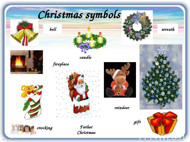 Christmas symbols wreath reindeer bell stocking fireplace Father Christmas candle gift