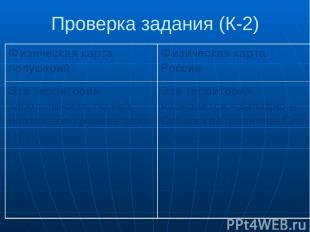 Проверка задания (К-2) Физическая карта полушарий Физическая карта России Эта те